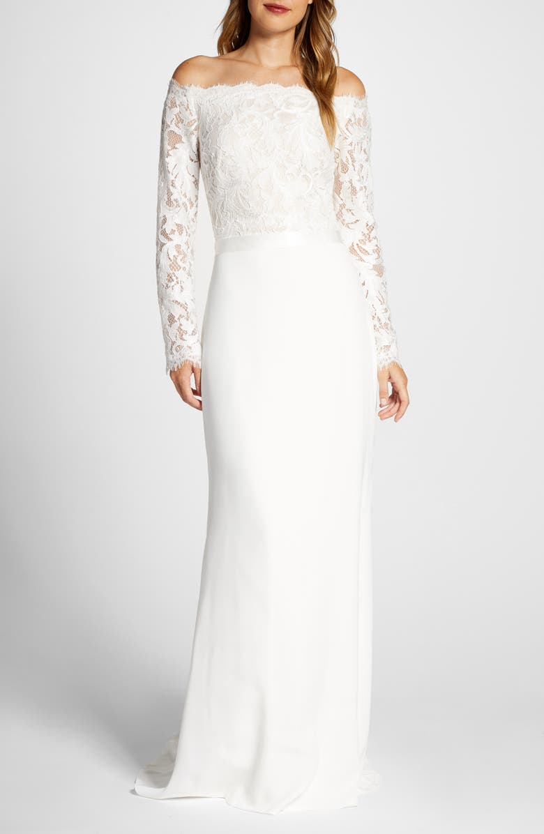 TADASHI SHOJI Lace & Crepe Long Sleeve Wedding Dress, Main, color, IVORY/ PETAL
