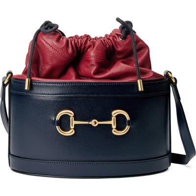 Gucci Small 1955 Horsebit Leather Bucket Bag - Blue