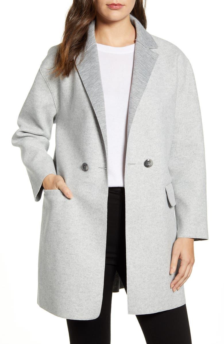 BERNARDO Double Breasted Knit Jacket, Main, color, HEATHER GREY