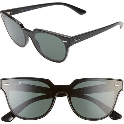Ray-Ban 51Mm Square Sunglasses - Black/ Green Solid