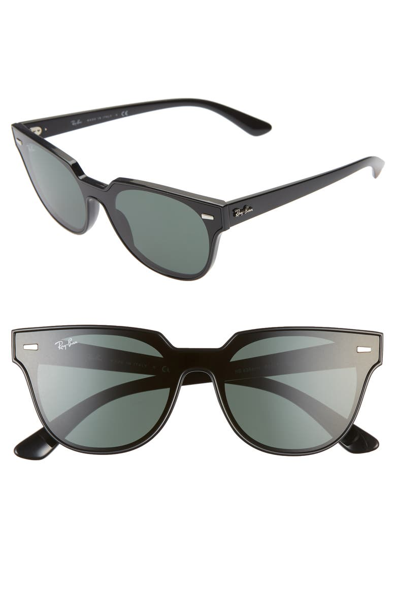 RAY-BAN 51mm Square Sunglasses, Main, color, BLACK/ GREEN SOLID