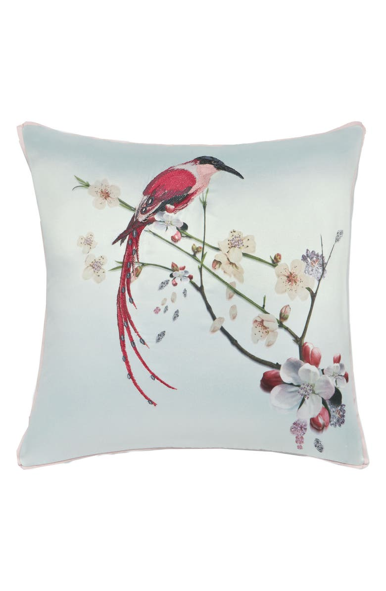 TED BAKER LONDON Embroidered Bird Print Accent Pillow, Main, color, 300