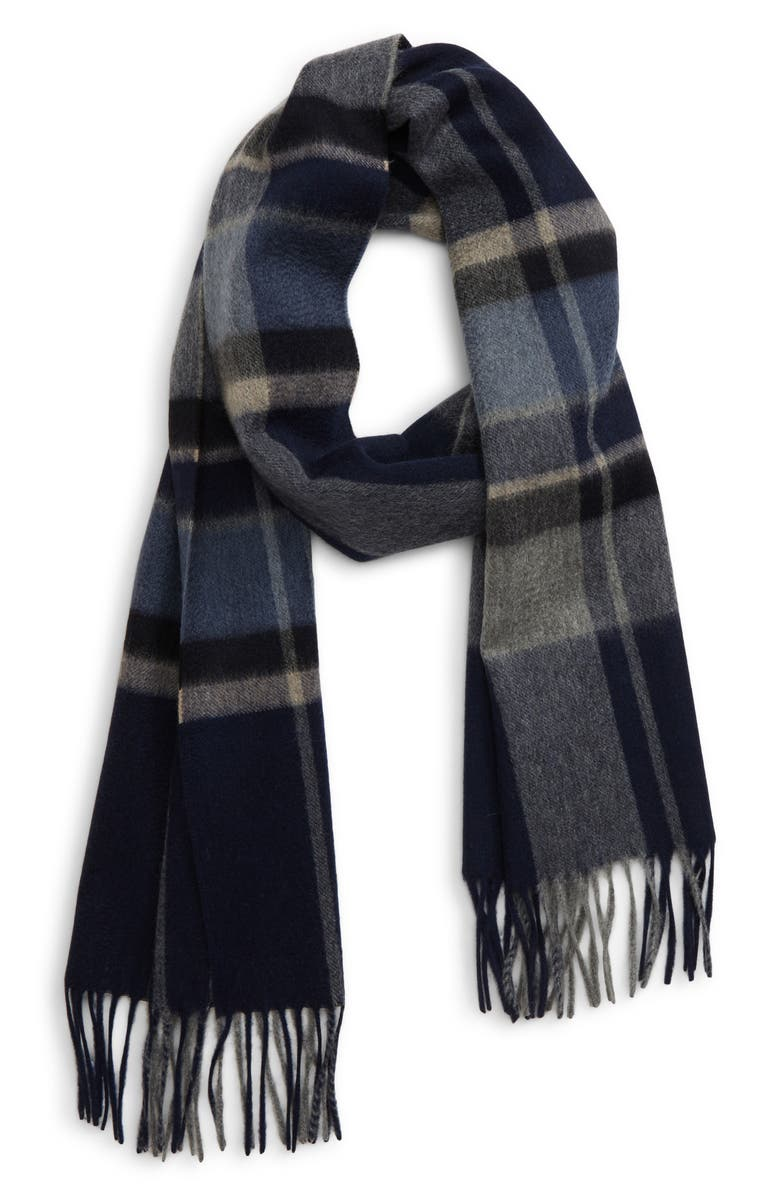 ANDREW STEWART Plaid Cashmere Scarf, Main, color, NAVY