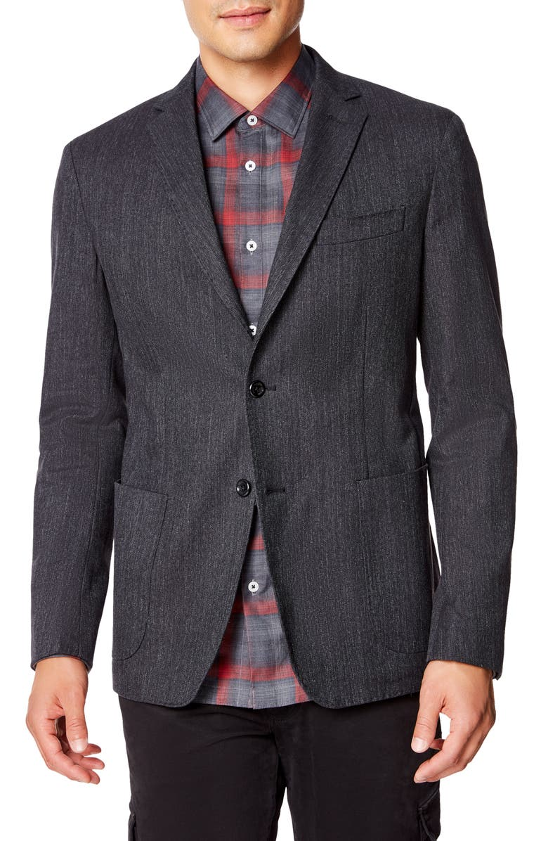 GOOD MAN BRAND Downtown Slim Fit Stretch Denim Sport Coat, Main, color, BLACK