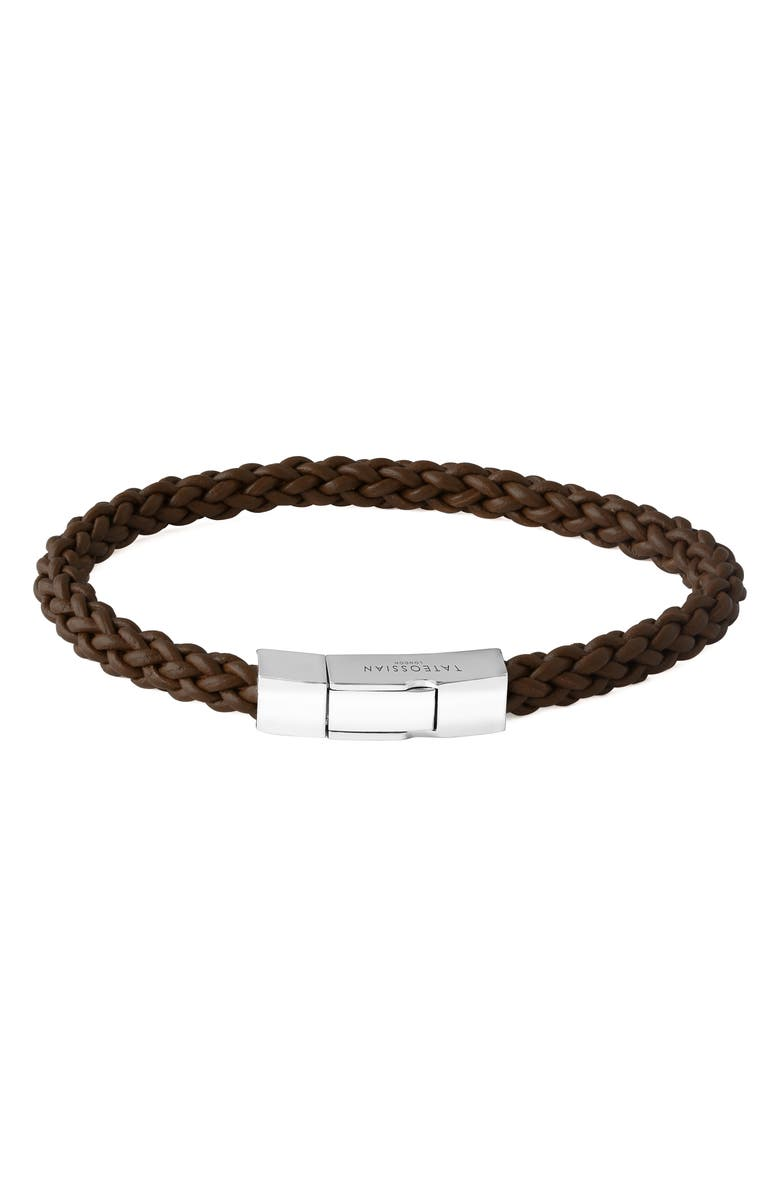 TATEOSSIAN Braided Leather Bracelet, Main, color, BROWN
