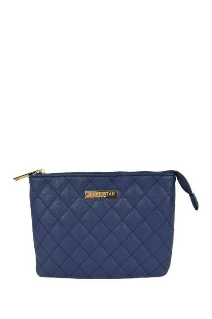Image of Suzy Levian Small Faux Leather Quilted Clutch
