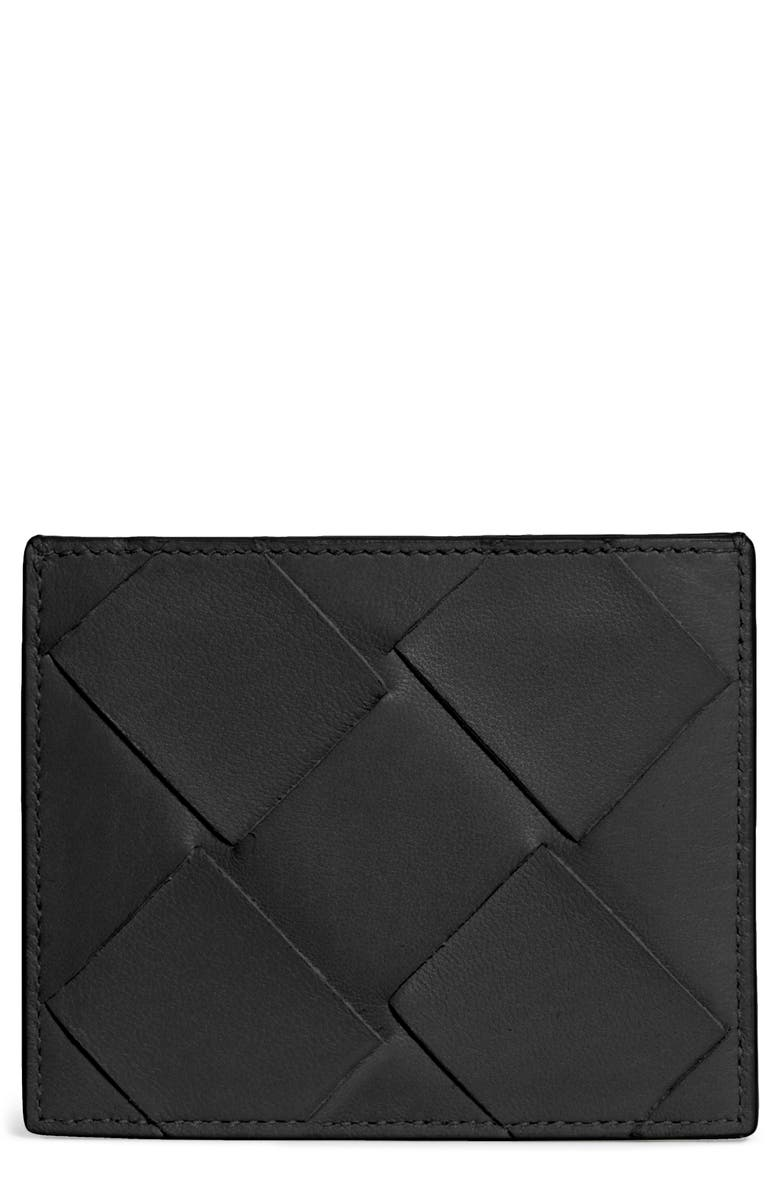 BOTTEGA VENETA Intrecciato Leather Card Case, Main, color, NERO