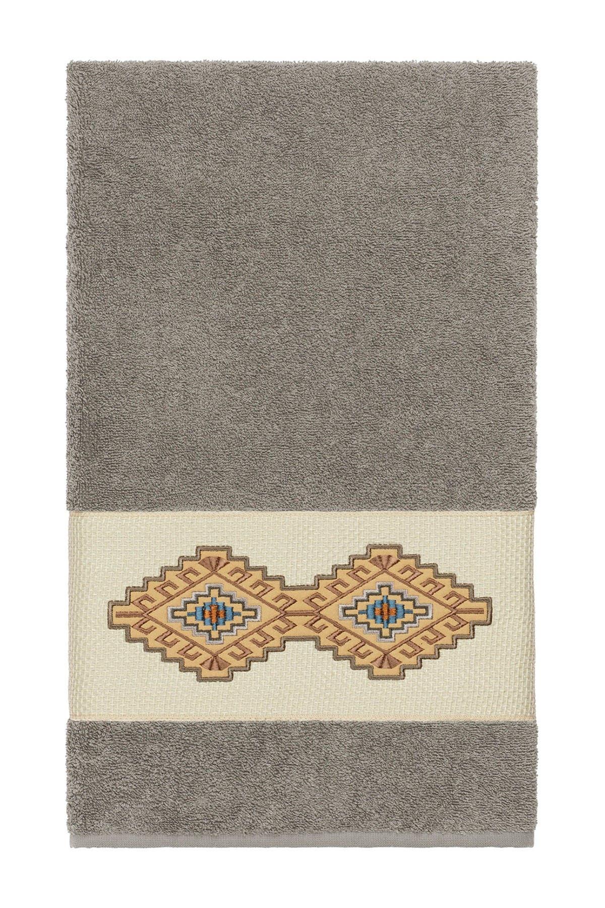 Image of LINUM HOME Gianna Embellished Bath Towel - Dark Grey