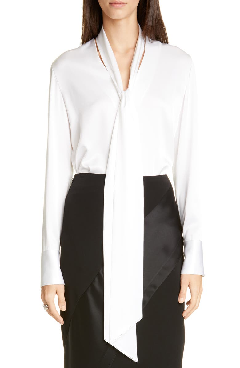 ST. JOHN EVENING Tie Neck Liquid Satin Blouse, Main, color, WHITE