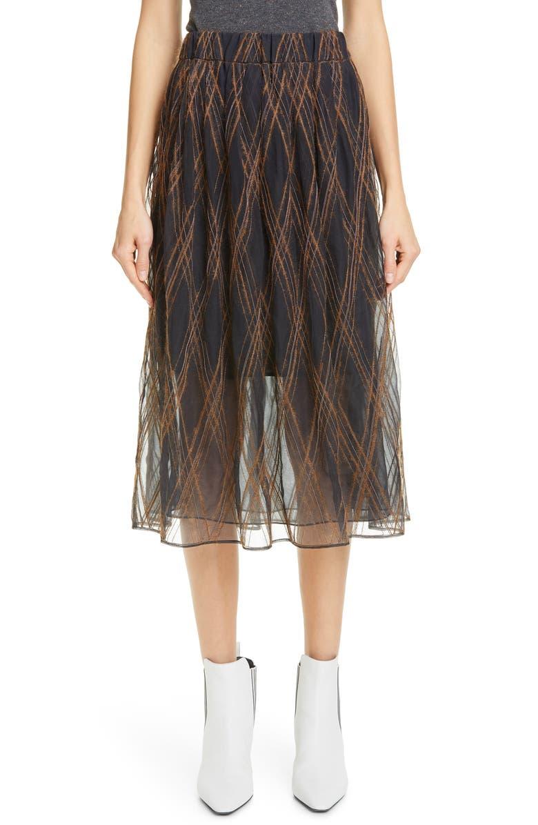 BRUNELLO CUCINELLI Monili Argyle Tulle Midi Skirt, Main, color, VOLCANO