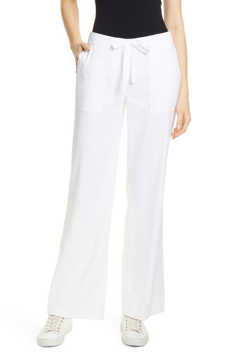 NORDSTROM SIGNATURE Drawstring Pants, Main, color, WHITE