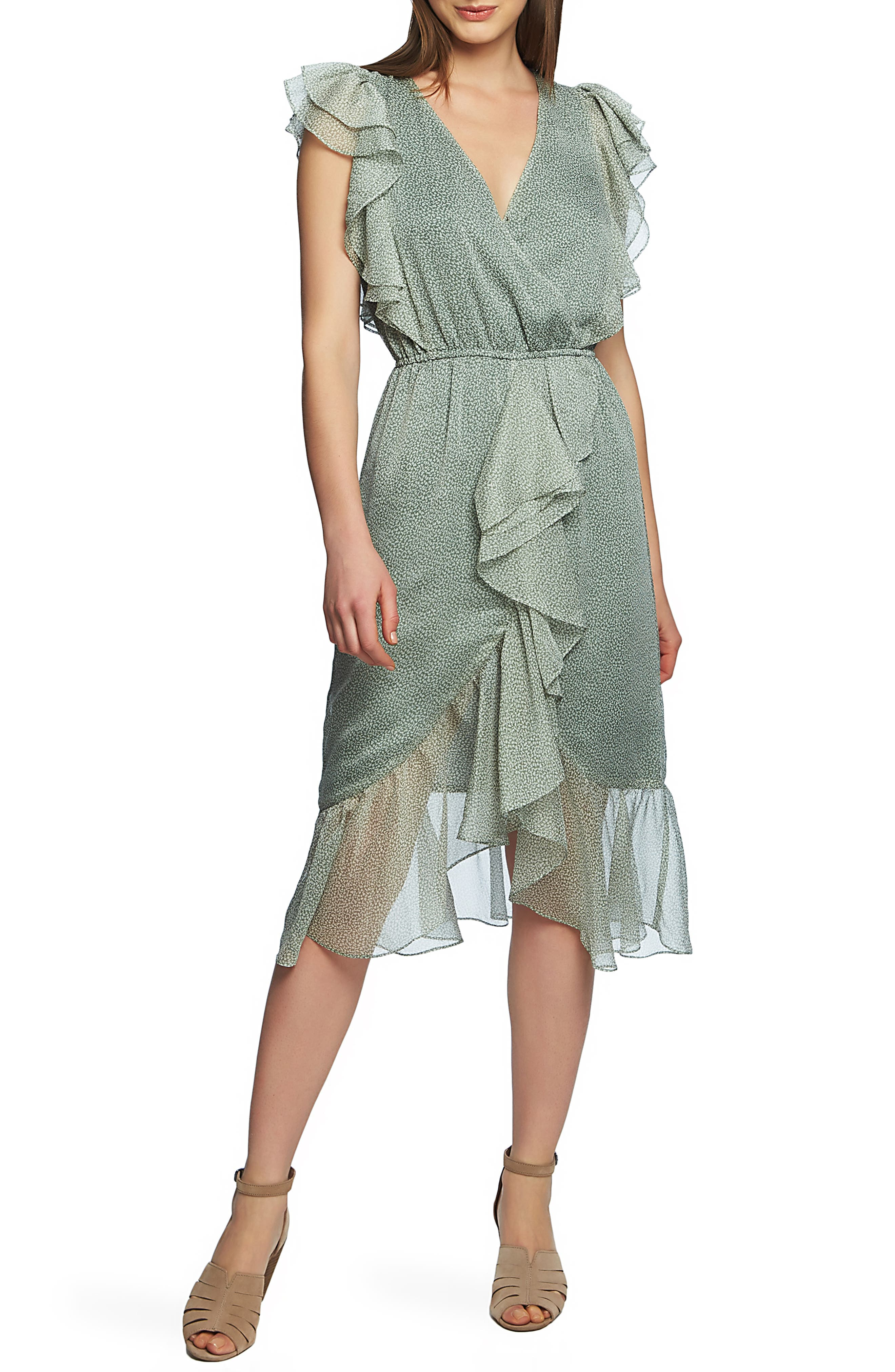 1.state Mosaic Ditsy High/low Dress, Green