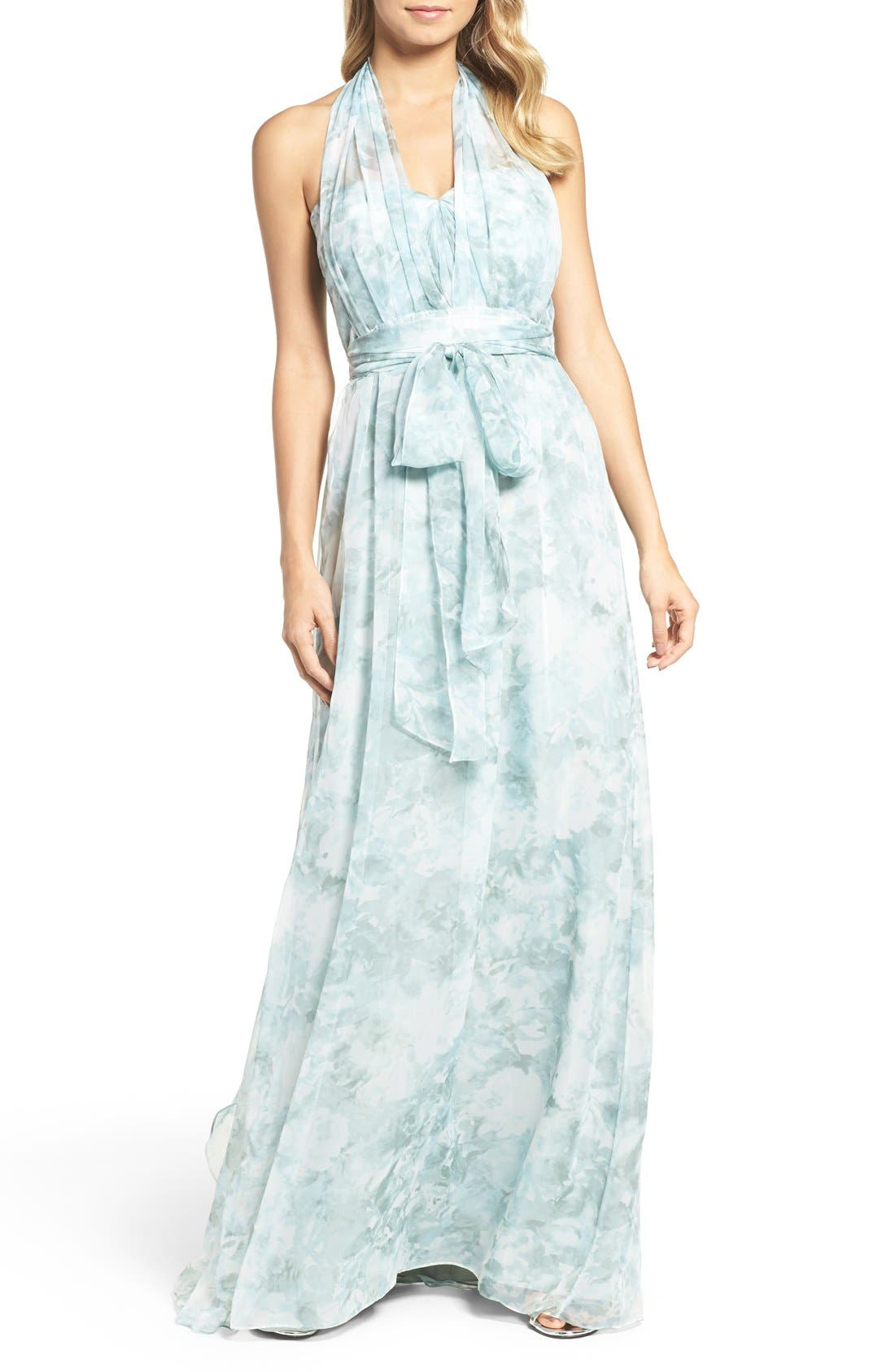 ,                             Nyla Floral Print Convertible Strapless Chiffon Gown,                             Alternate thumbnail 19, color,                             340