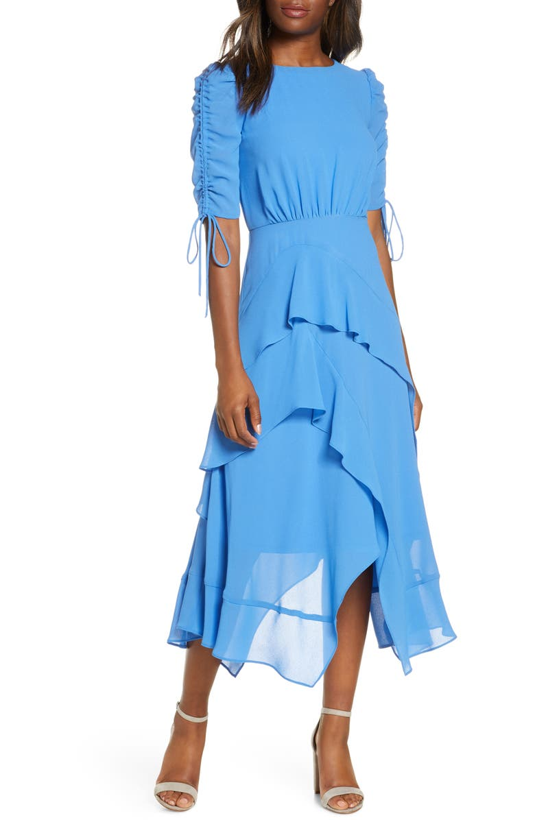 MAISON TARA Ruched Sleeve Tiered Georgette Dress, Main, color, 400