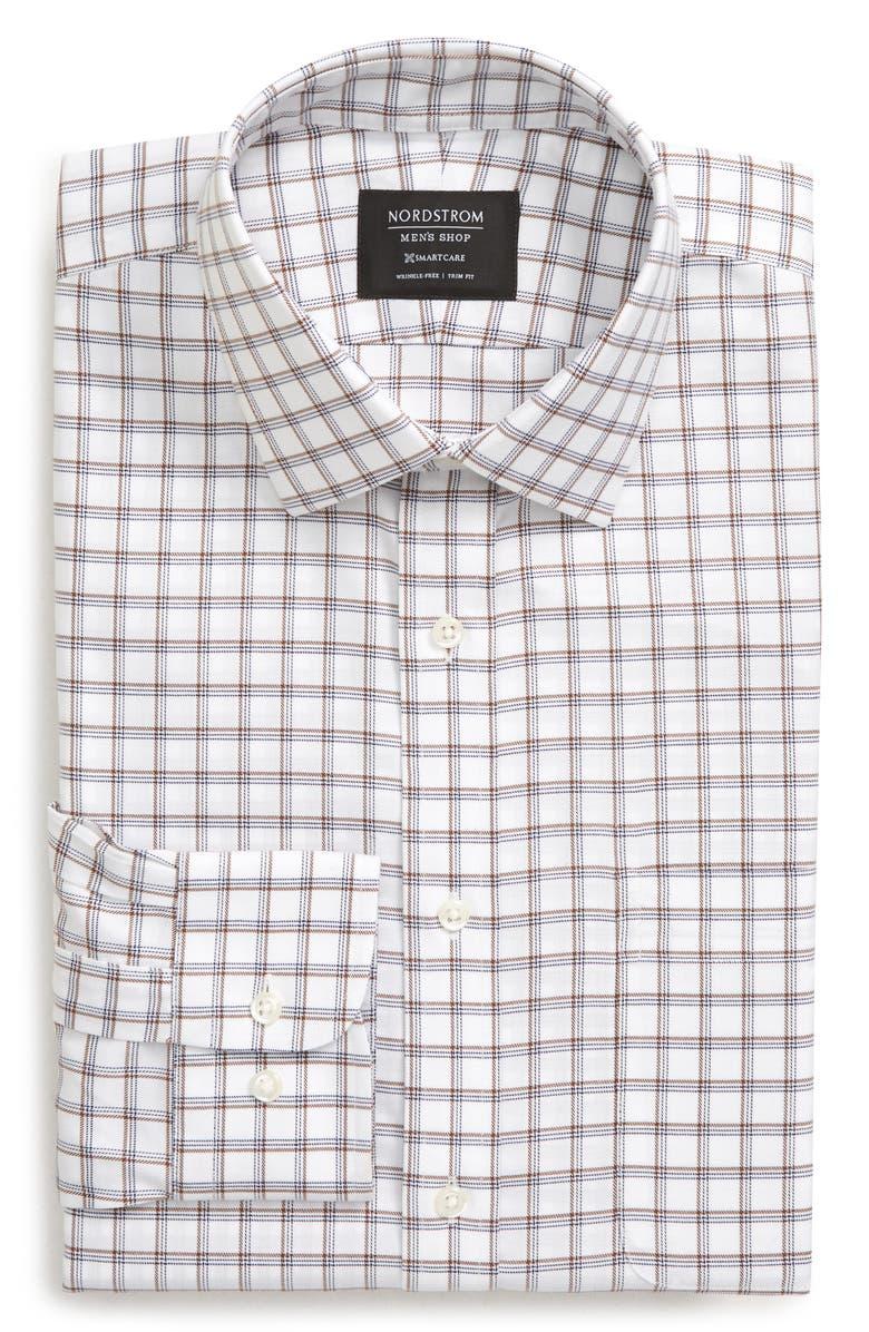 NORDSTROM MEN'S SHOP Smartcare<sup>™</sup> Trim Fit Plaid Dress Shirt, Main, color, BROWN NUTMEG