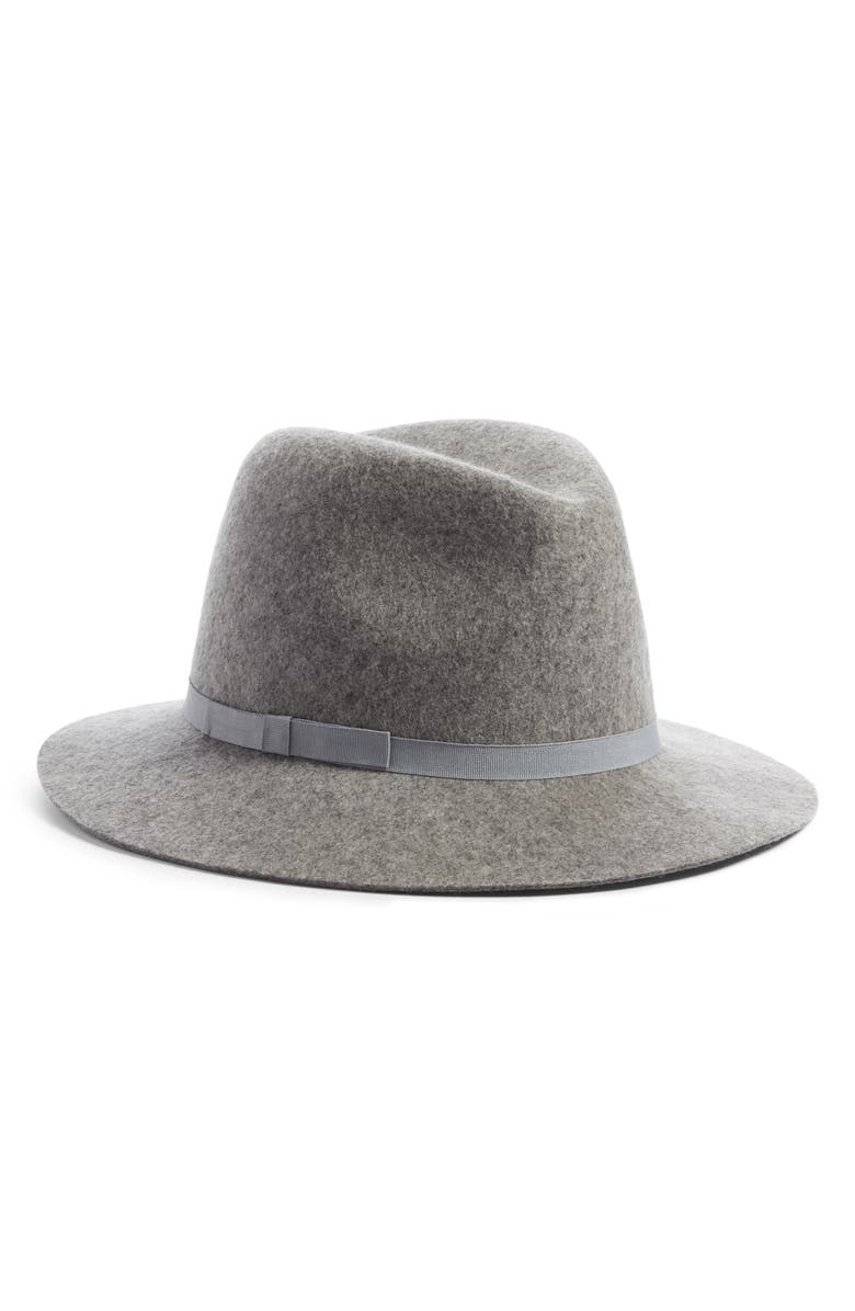 NORDSTROM Essential Felted Wool Fedora, Main, color, GREY COMBO