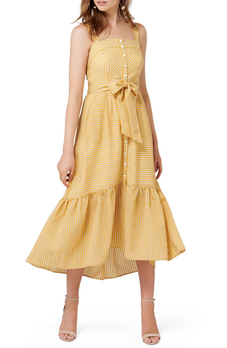 EVER NEW Stripe Button Up Tie Front Sundress, Main, color, OCHRE STRIPE