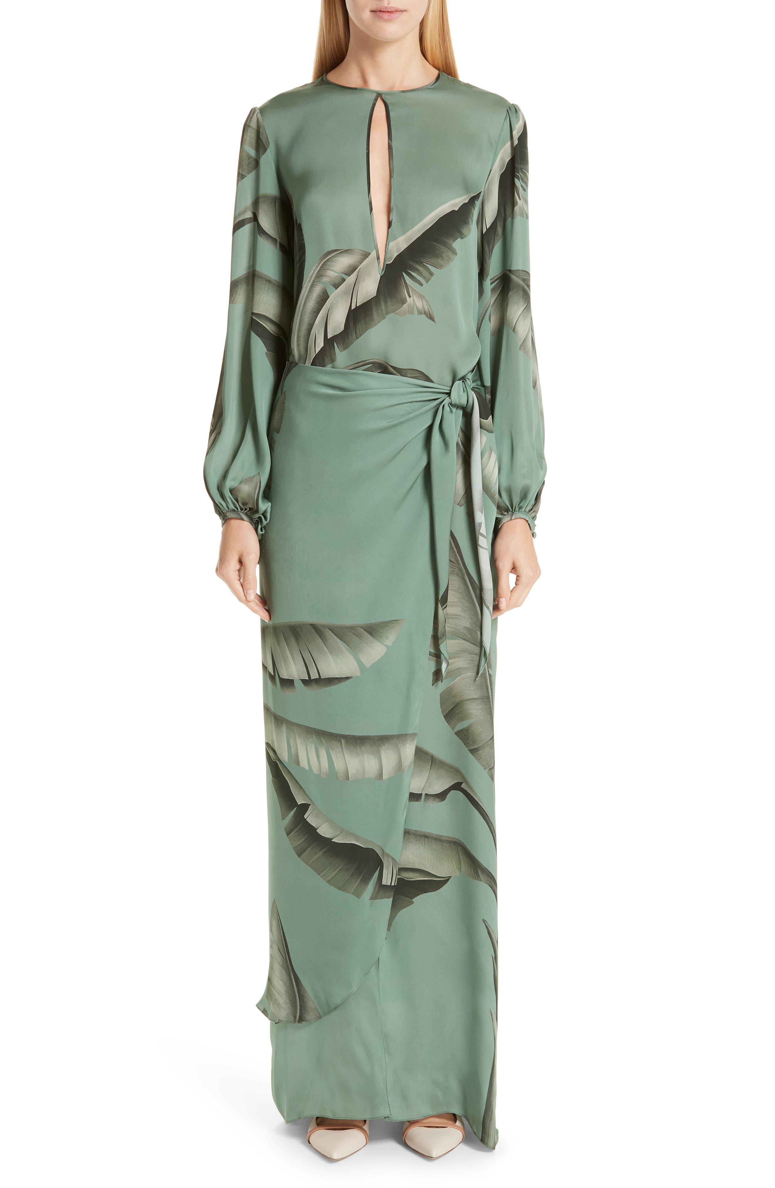 Johanna Ortiz Palm Print Silk Maxi Dress, Green