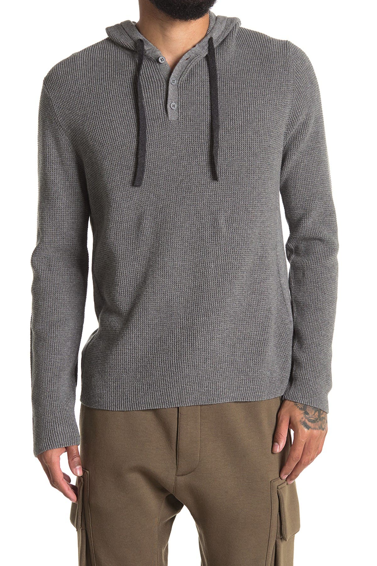 Image of AMICALE Cotton Cashmere Blend Henley Hoodie