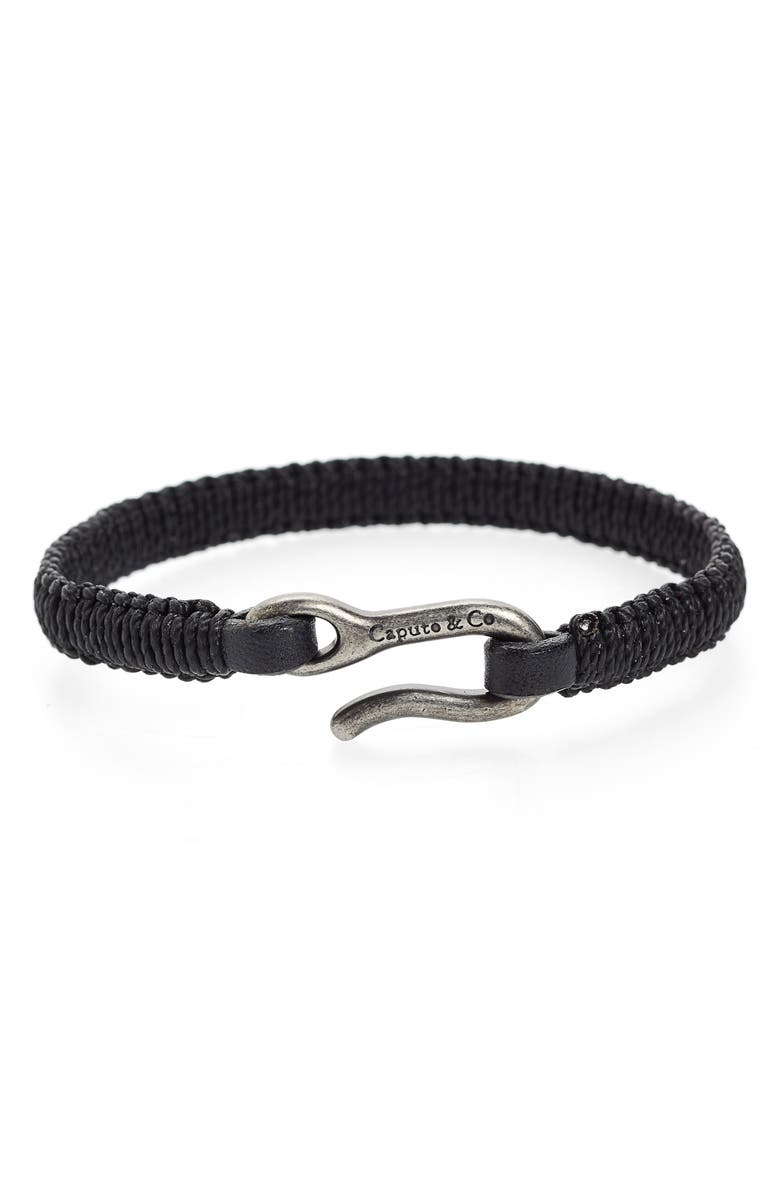 CAPUTO & CO. Hand-Knotted Leather Bracelet, Main, color, BLACK