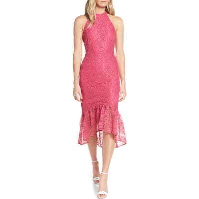 Forest Lily Lace Halter High/low Dress, Pink