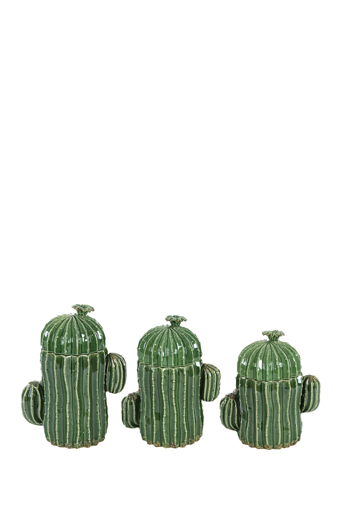 Willow Row Large Ceramic Green Cactus Pottery Decorative Jars with Lids - Set of 3 at Nordstrom Rack