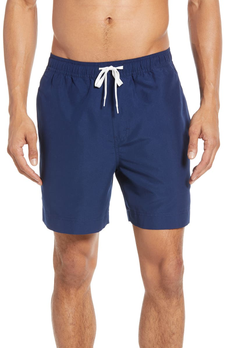 1901 Solid Slim Fit Volley Swim Trunks, Main, color, NAVY MEDIEVAL