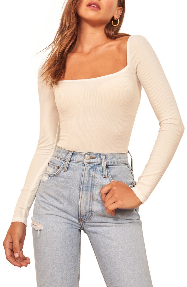 REFORMATION Gaia Bodysuit, Main, color, WHITE