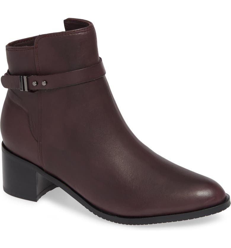 CLARKS<SUP>®</SUP> Poise Freya Bootie, Main, color, BURGUNDY LEATHER