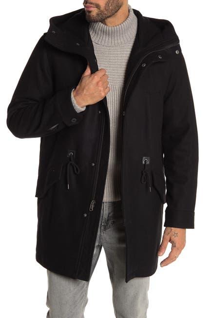 Image of Cole Haan Wool Blend Drawstring Waist Hooded Jacket