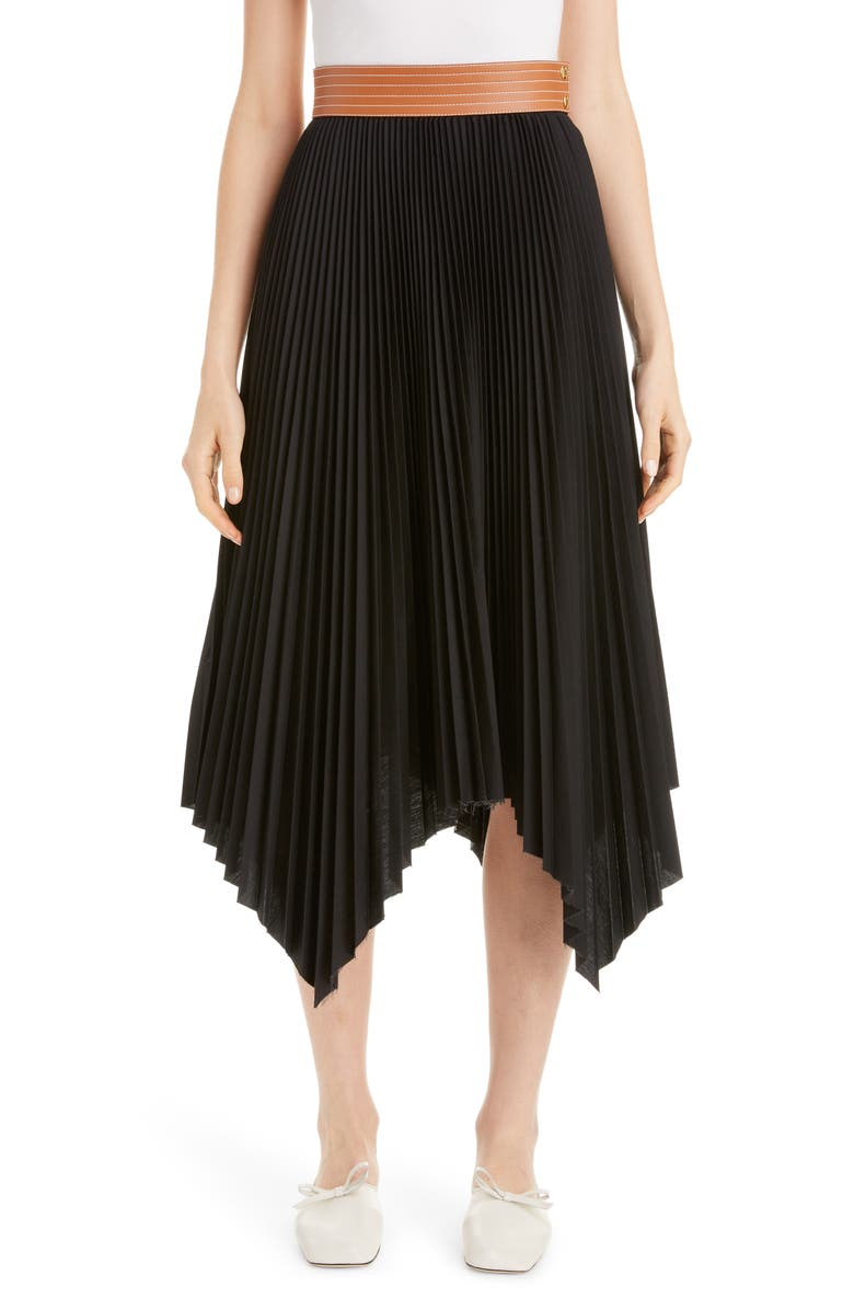 LOEWE Leather Band Asymmetrical Pleated Midi Skirt, Main, color, BLACK/ TAN