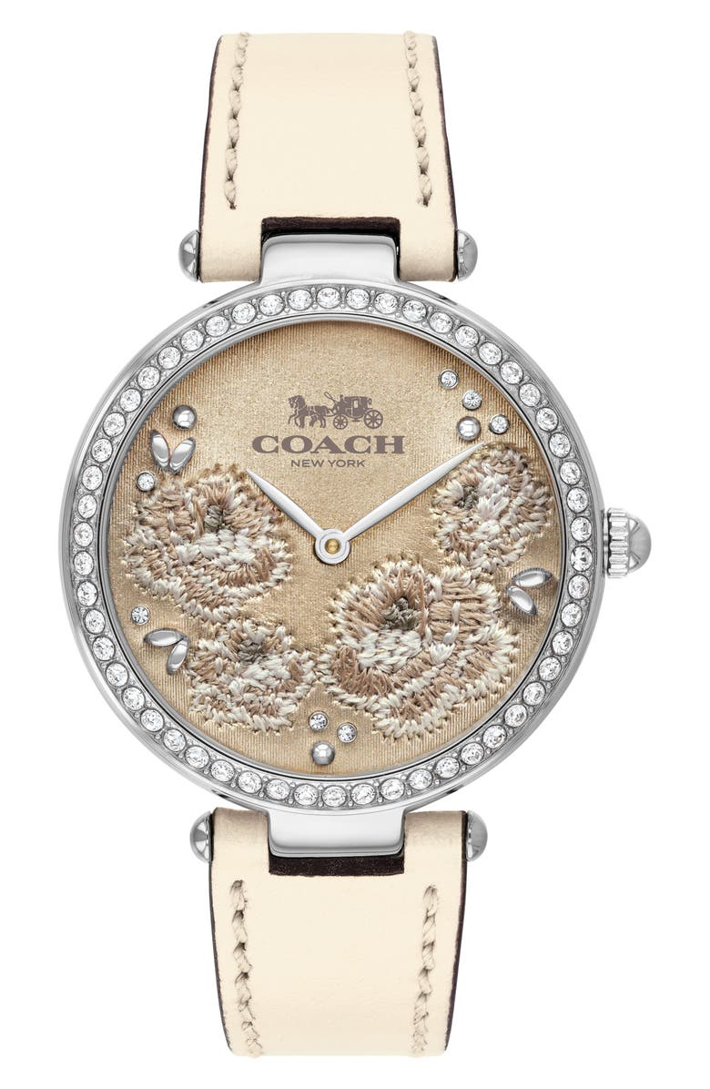 COACH Park Leather Strap Watch, 34mm, Main, color, CREAM/ FLORAL/ SILVER