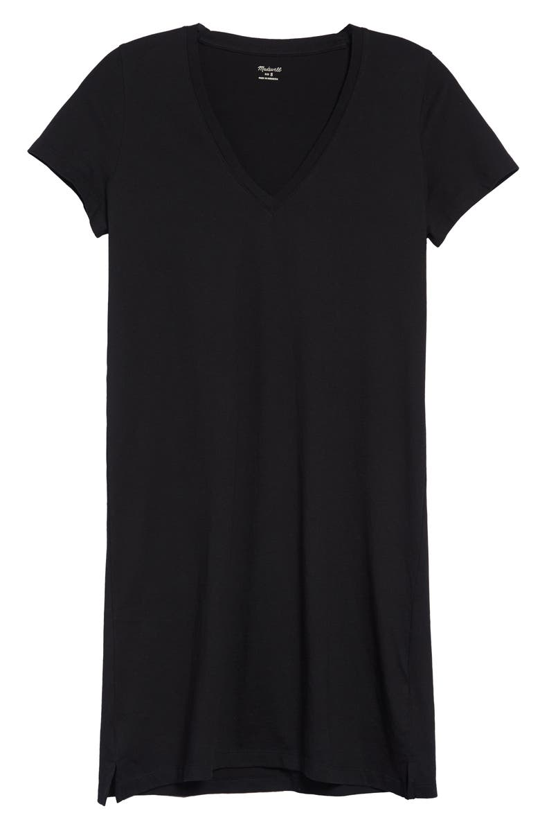 MADEWELL Northside V-Neck T-Shirt Dress, Main, color, TRUE BLACK