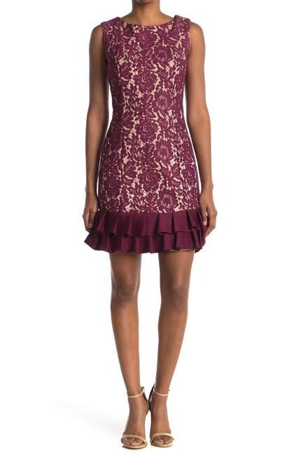 Image of Donna Ricco Ruffle Hem Bonded Lace Dress