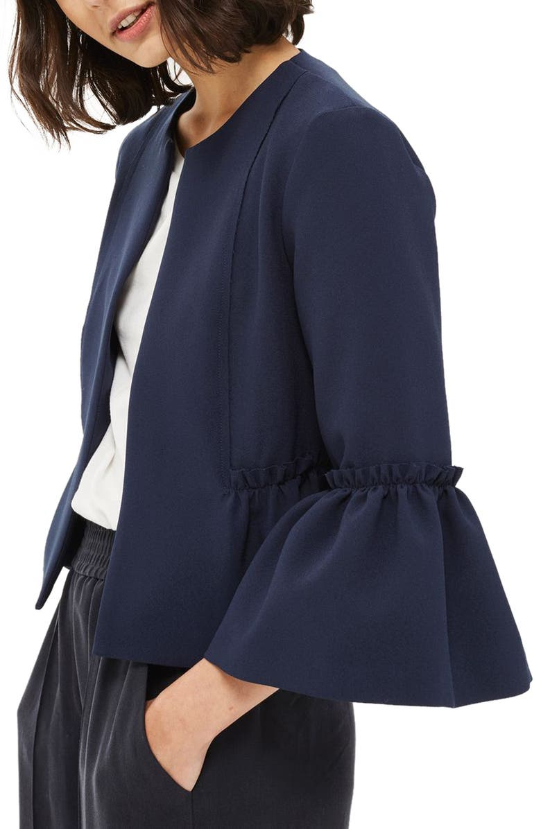 TOPSHOP Raw Ruffle Crop Jacket, Main, color, 410