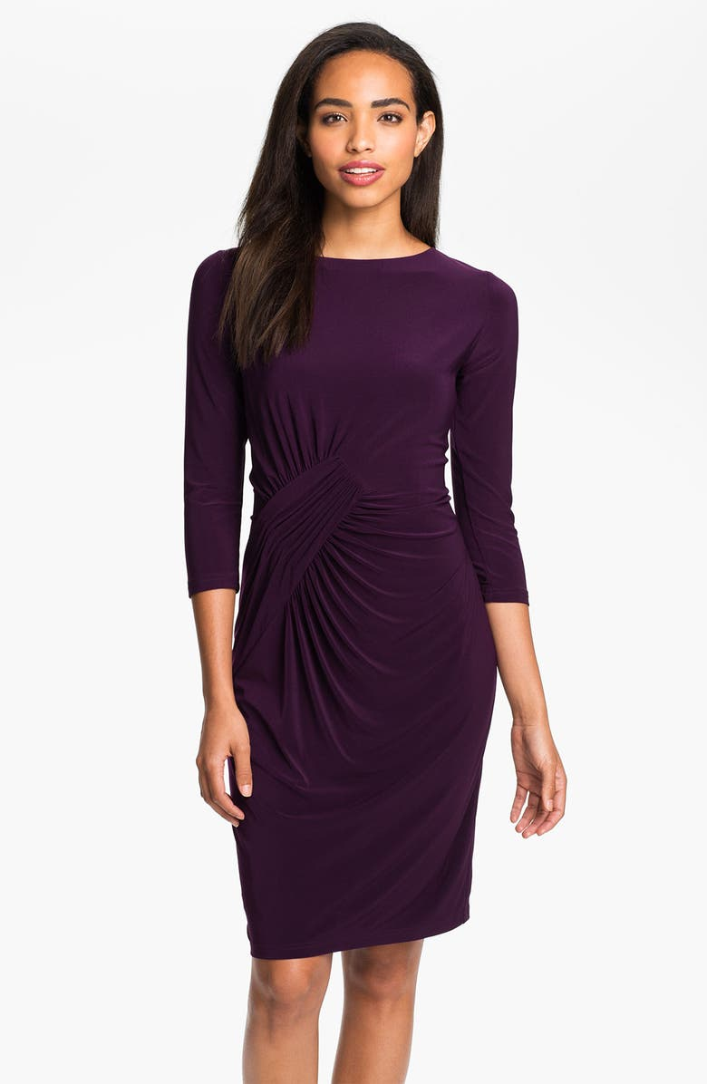 ADRIANNA PAPELL Asymmetrically Ruched Jersey Dress, Main, color, 564