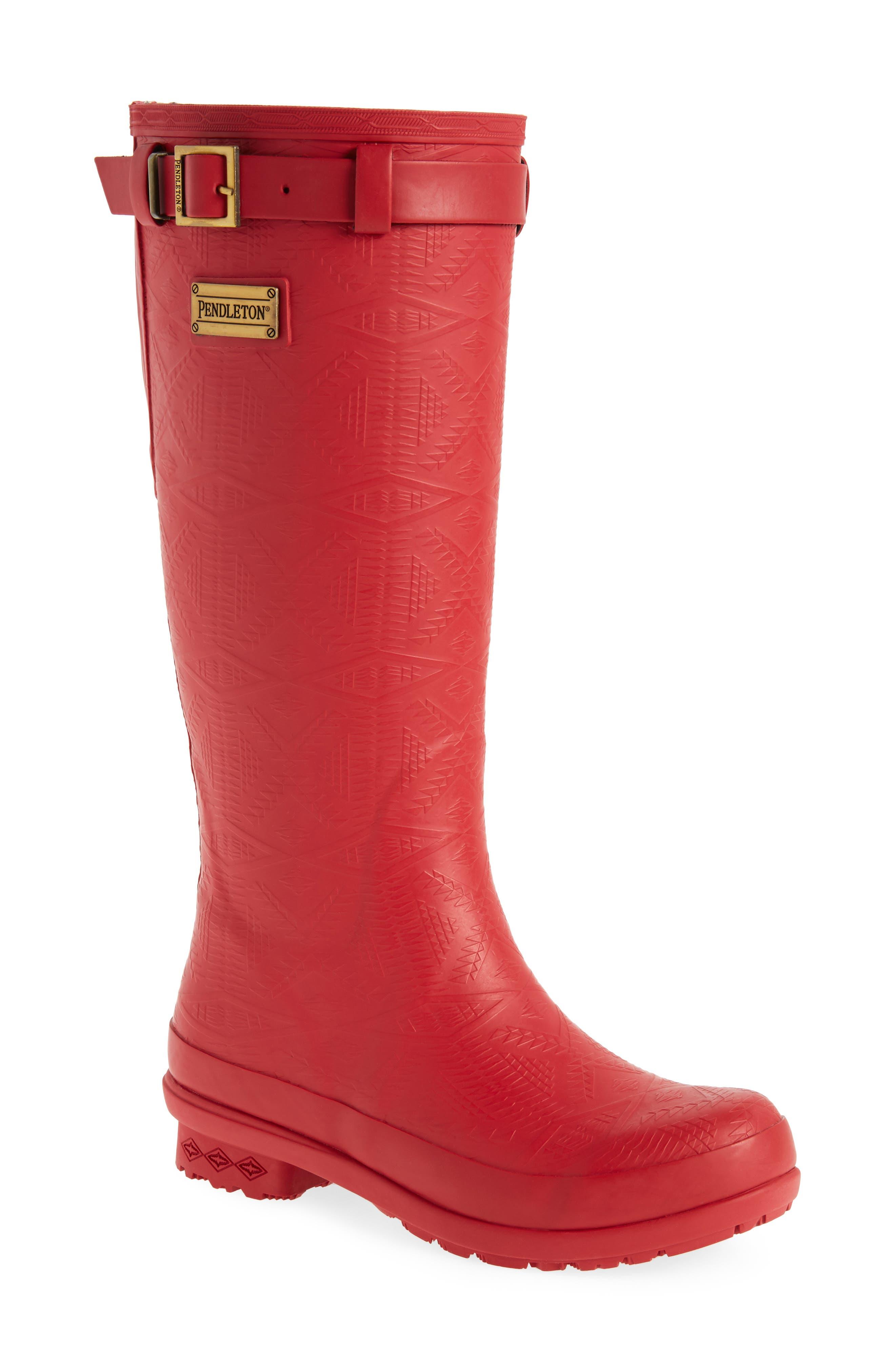 ,                             Embossed Tall Waterproof Rain Boot,                             Main thumbnail 1, color,                             SCARLET