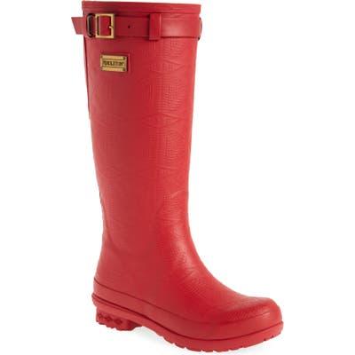 Pendleton Embossed Tall Waterproof Rain Boot, Red