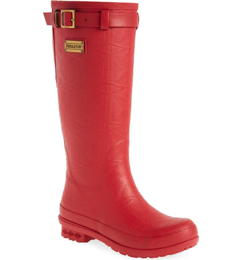 PENDLETON Embossed Tall Waterproof Rain Boot, Main, color, SCARLET