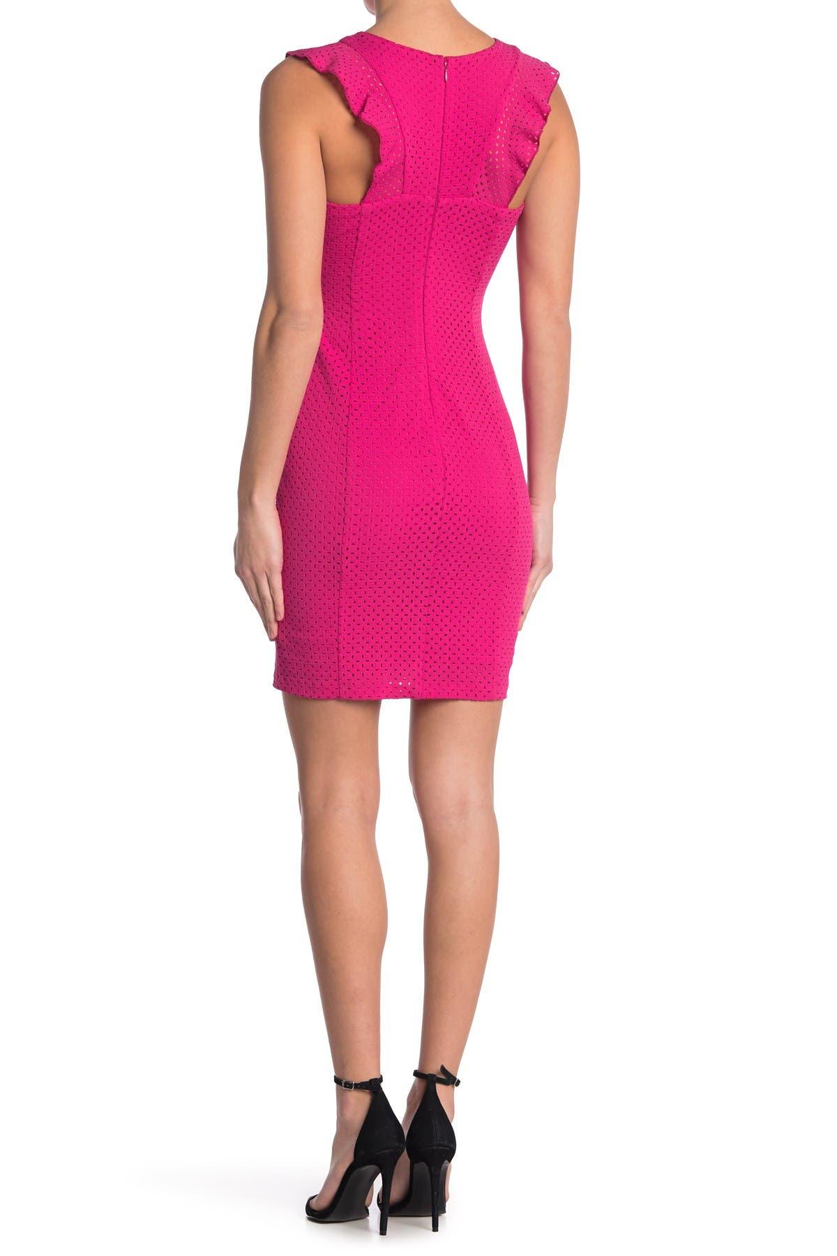 Image of GUESS Crisscross Ruffle Sleeveless Dress