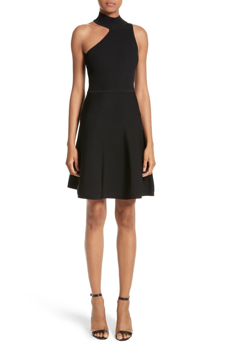 CUSHNIE Vika One-Shoulder Knit Flare Dress, Main, color, 001