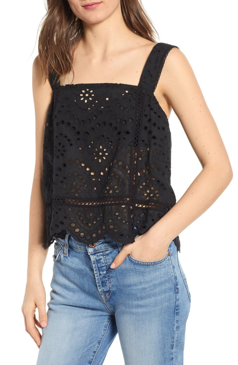 7 FOR ALL MANKIND<SUP>®</SUP> Eyelet Tank, Main, color, JET BLACK