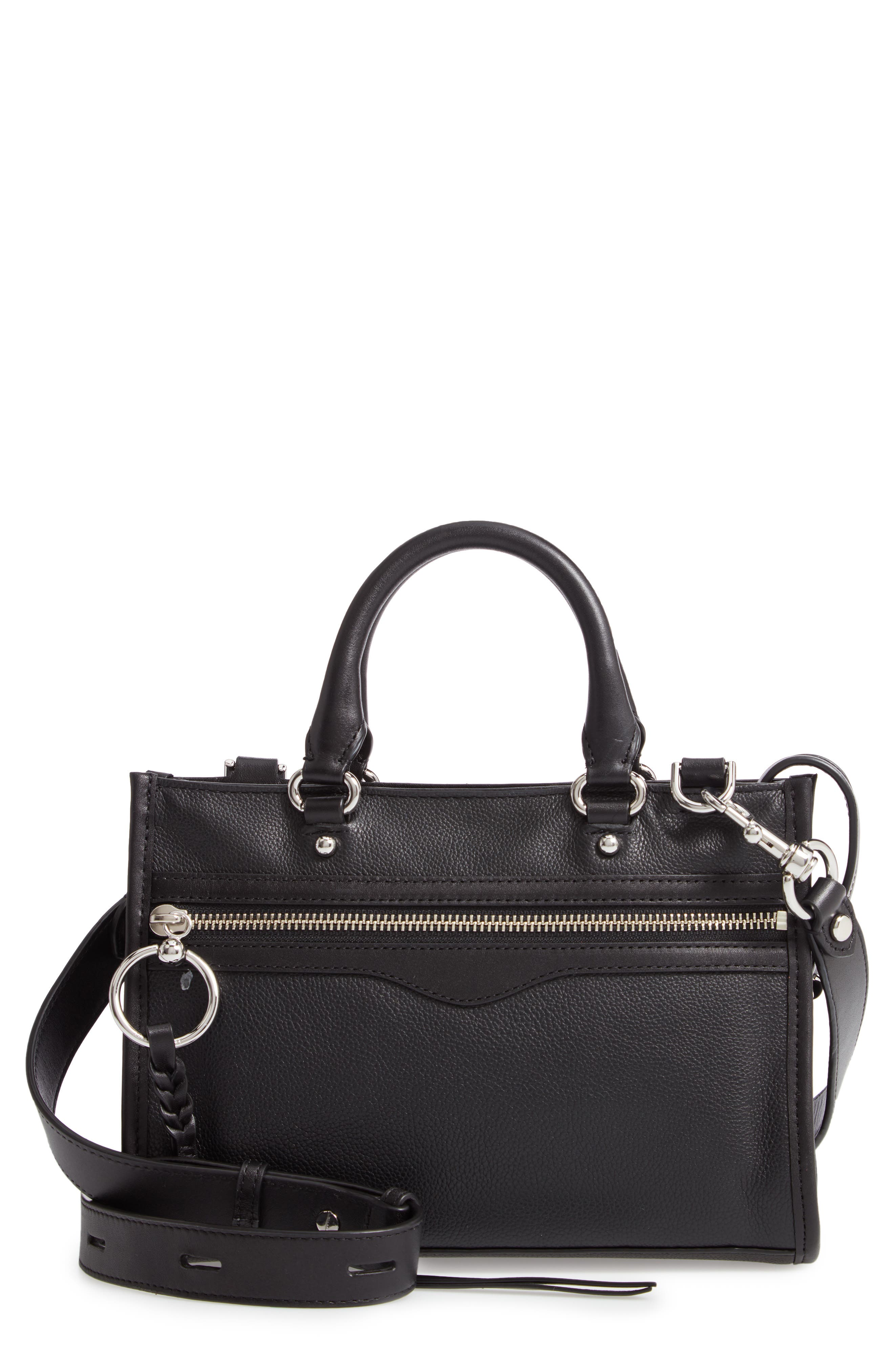 Micro Bedford Leather Satchel, Main, color, BLACK