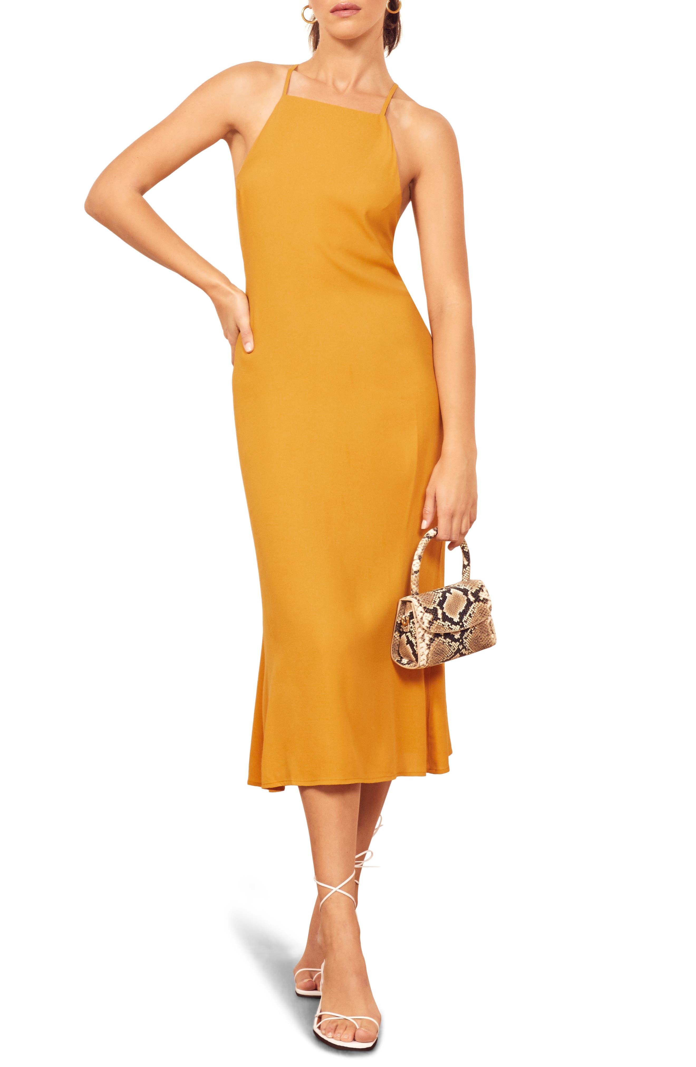Reformation Roman Midi Dress, Yellow