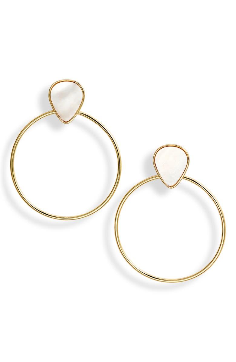 ARGENTO VIVO Sterling Silver Hoop Earrings, Main, color, GOLD/ MOP