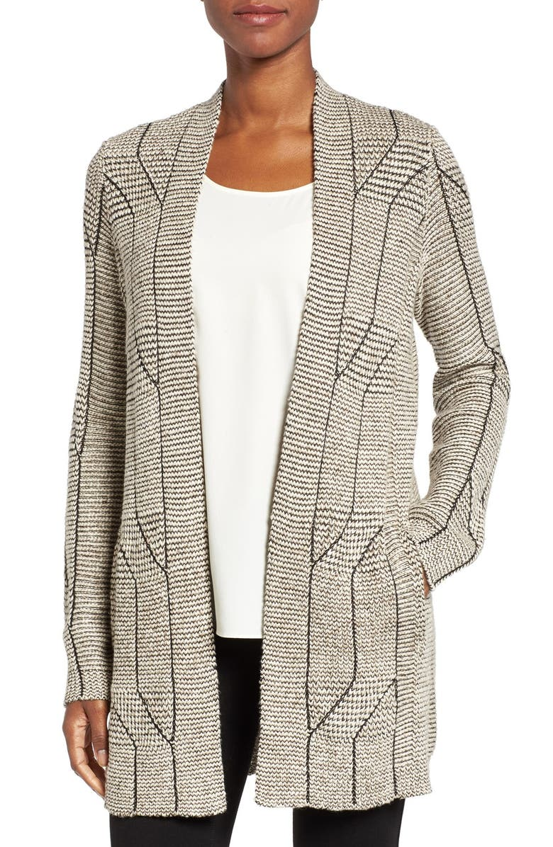 NIC+ZOE Cascading Cables Knit Cardigan, Main, color, 090