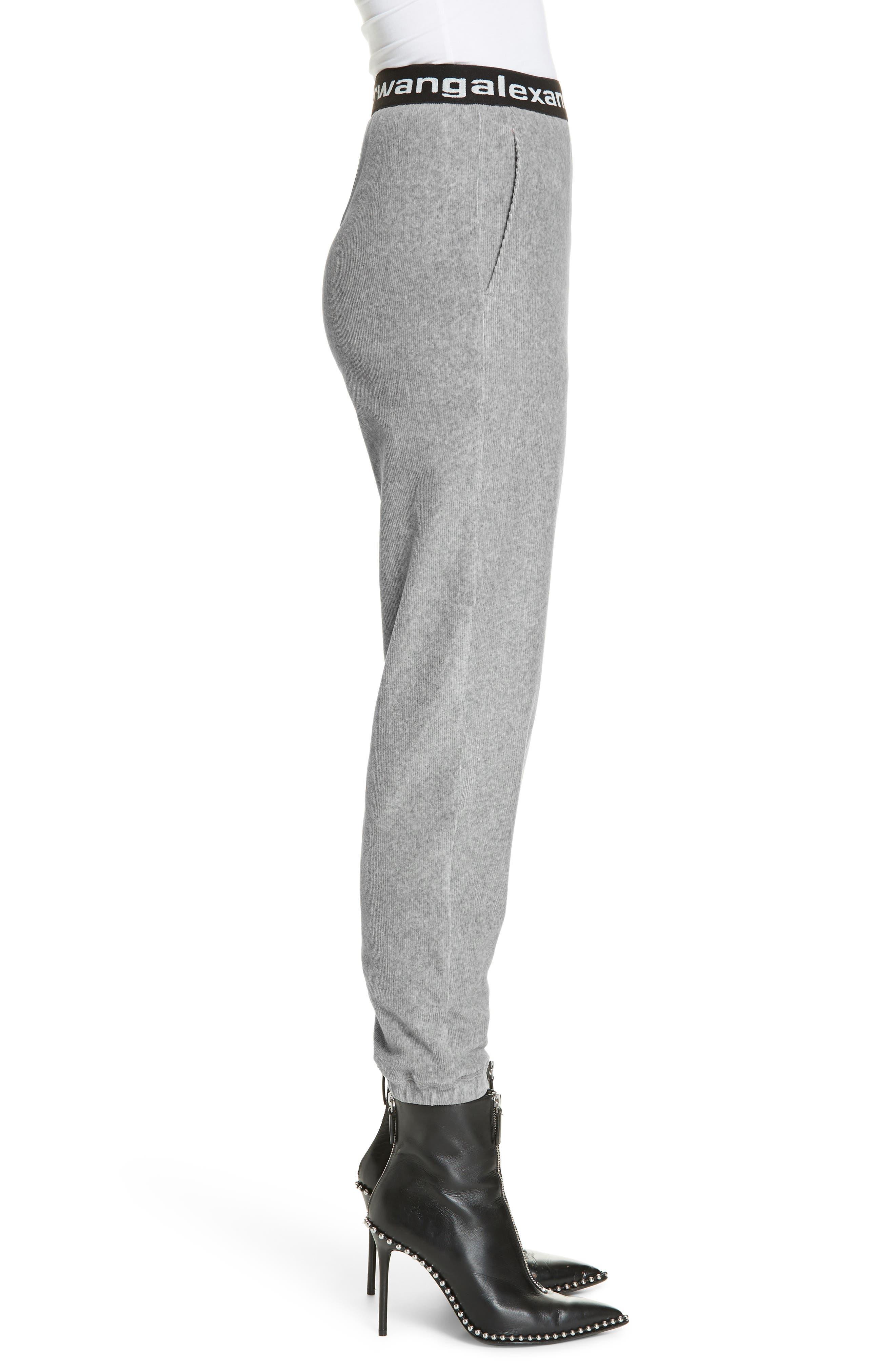 ,                             Logo Stripe Corduroy Pants,                             Alternate thumbnail 3, color,                             HEATHER GREY