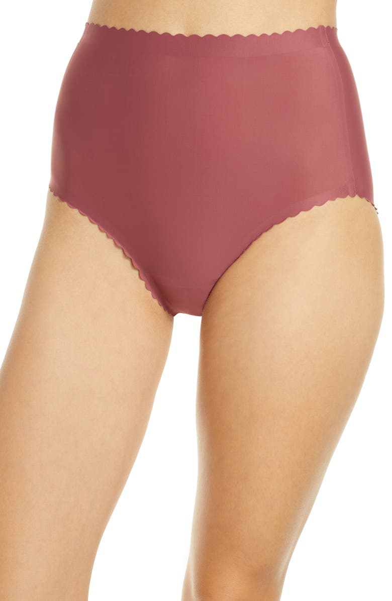 KNIX Essential Scallop High Rise Panties, Main, color, WHISKEY ROSE