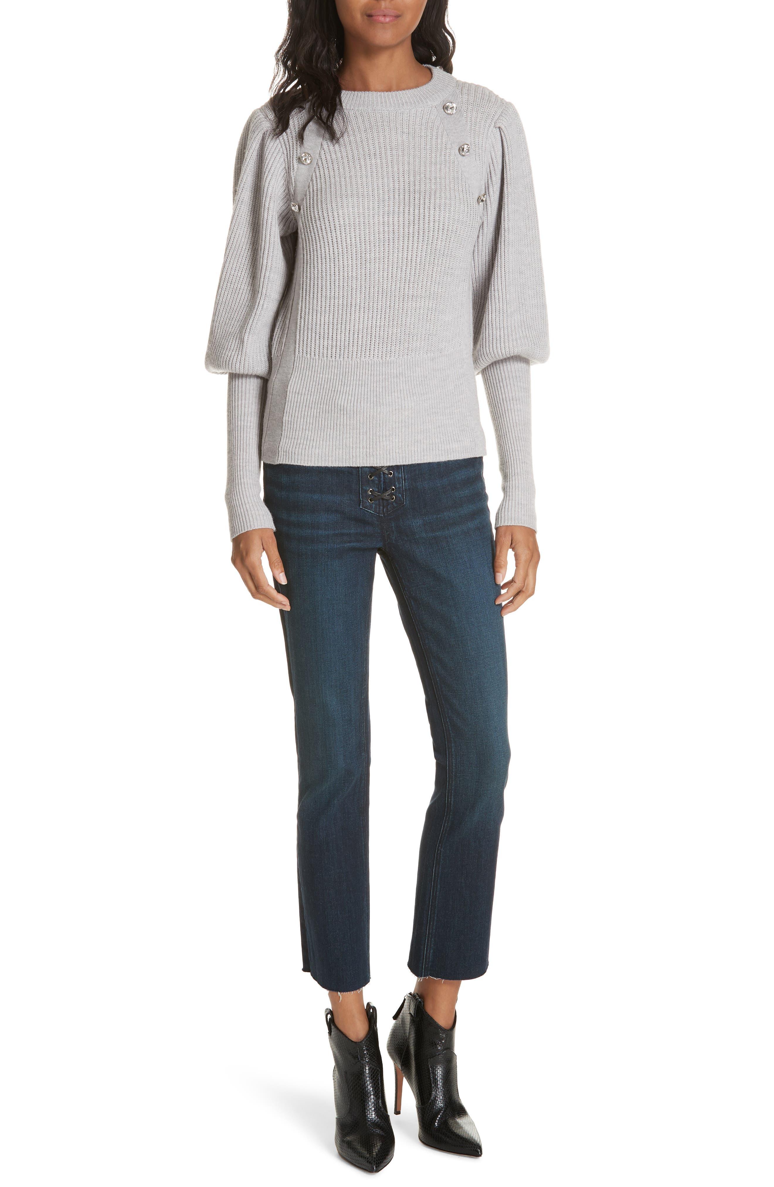 ,                             Jude Crystal Button Merino Wool Sweater,                             Alternate thumbnail 7, color,                             LIGHT GREY