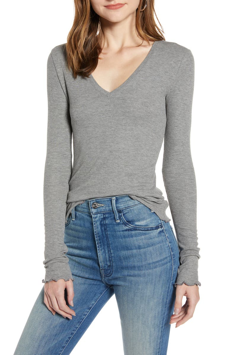TREASURE & BOND Ribbed Long Sleeve V-Neck Tee, Main, color, GREY DARK HEATHER
